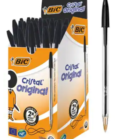 BIC Cristal Original Ballpoint Pen Medium 0.4 mm Black Pack of 50