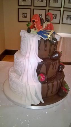 Half n' half wedding cake.