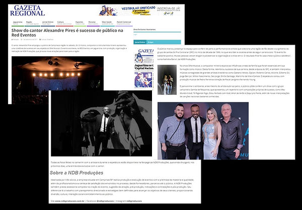 NDB Produções sai nos jornais da região, como produtora que realiza shows que são sucesso de público e organização.