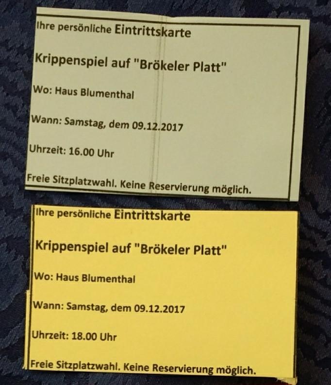 Eintrittskarten zum Krippenspiel
