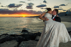 Bride and groom's sunset photograph