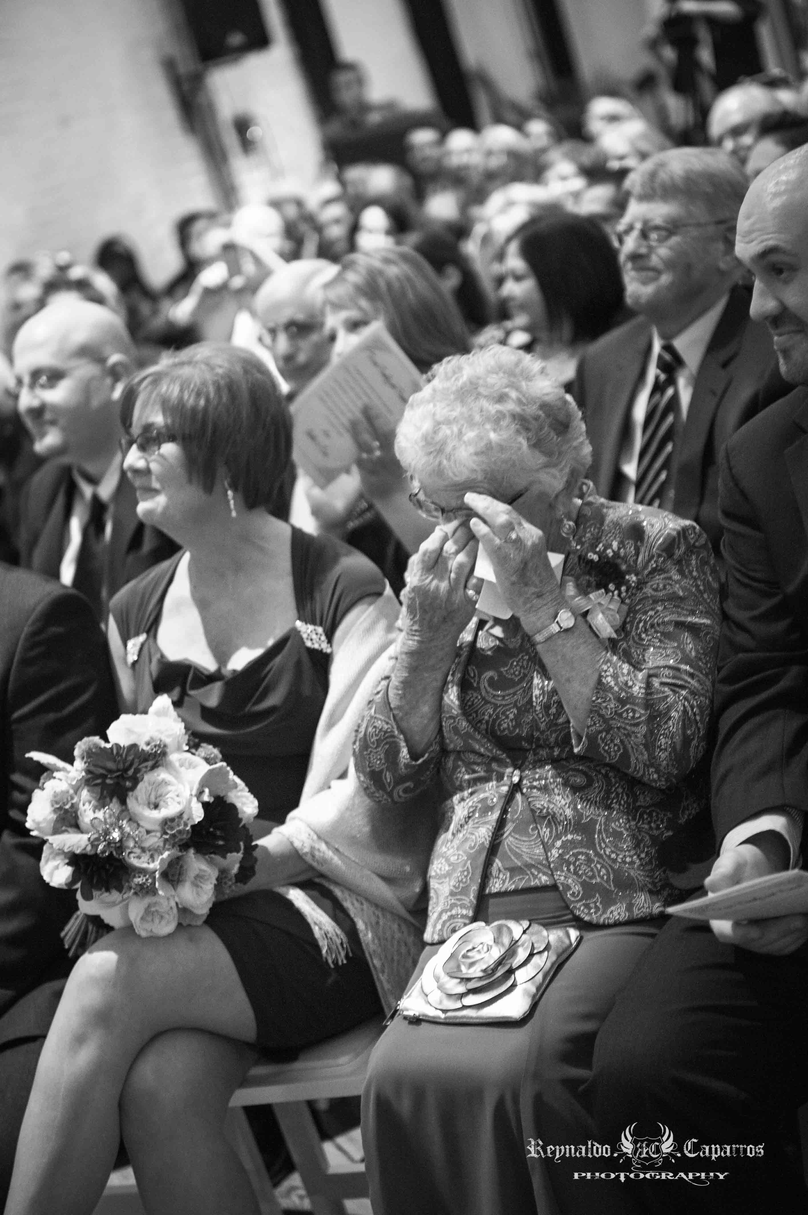 Emotional grandmother of the bride