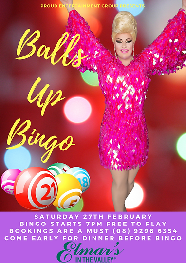 Balls Up Bingo Drag Queen Perth Elmars I