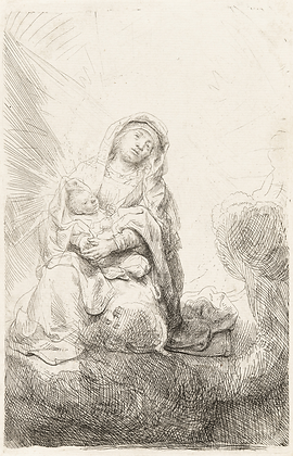 Rembrandt Harmensz Van Rijn - Virgin And Child In The Clouds