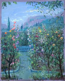 Hollyhocks in Chopin's Garden