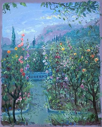 Bruno Zupan - Hollyhocks In Chopins Garden