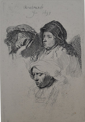 Rembrandt Harmensz Van Rijn - Three Heads Of Women