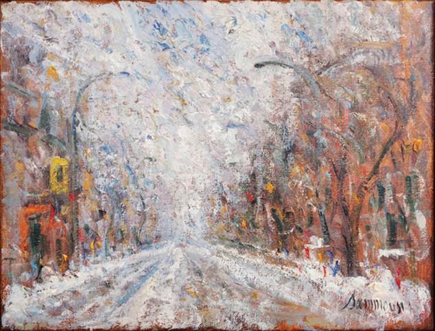"""Samir Sammoun """"Old Montreal, Snow"""""""