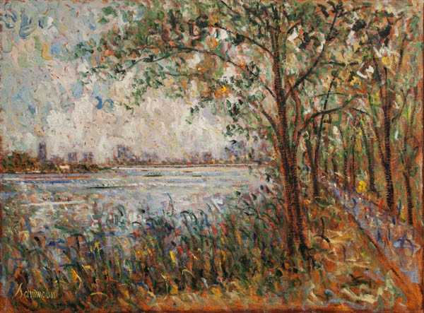 "Samir Sammoun, ""Head of the Charles, on the riverside"""