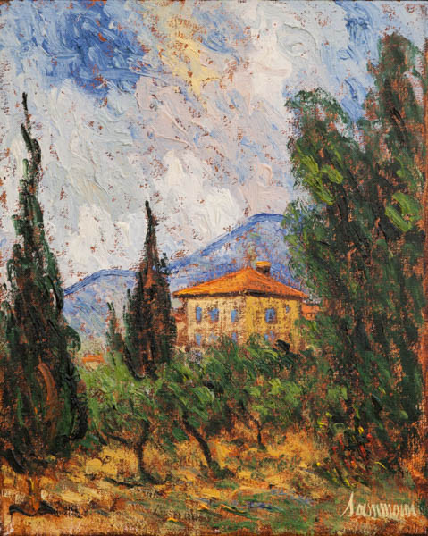 "Samir Sammoun, ""House and cypresses, Bekaa Valley"""