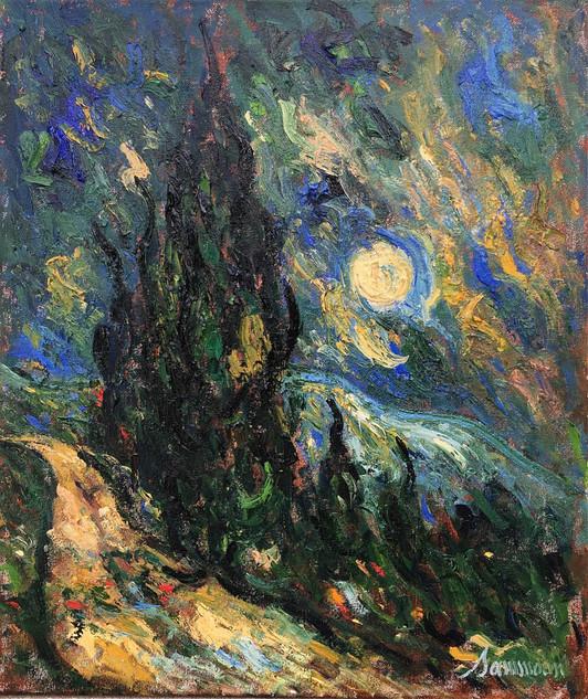 "Samir Sammoun ""Moonrise and Cypresses, Alman"""