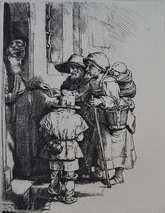 Rembrandt Harmensz Van Rijn - Beggars Receiving Alms at the Door of a House
