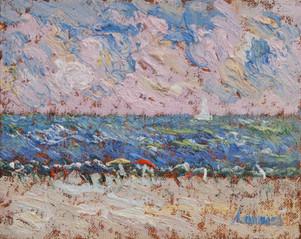 "Samir Sammoun, ""A la plage, study"""