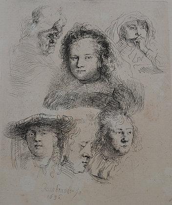 Rembrandt Harmensz Van Rijn - Studies of the Head of Saskia and Others