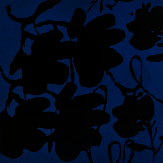 "Donald Sultan, ""Lantern Flowers, Black and Blue, Oct 4, 2017"""
