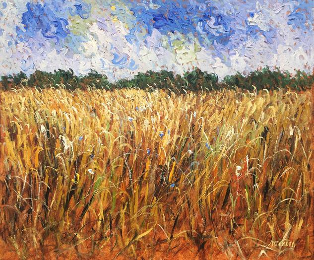 "Samir Sammoun ""Golden Wheat Field and Young Olive Grove"""