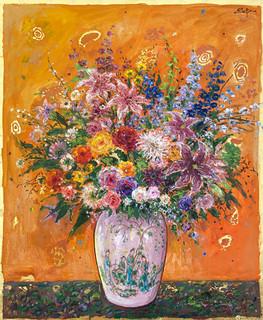 Bouquet on Titian Orange Ground