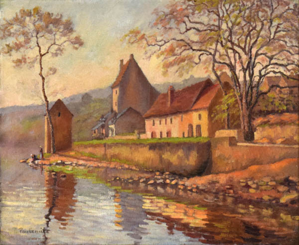 """Paulémile Pissarro, """"Maisons au Bord de l'Eau"""""""