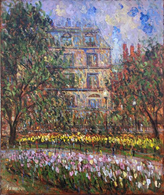 """Samir Sammoun """"Boston Park, Tulips, Vue on Commonwealth Avenue"""""""