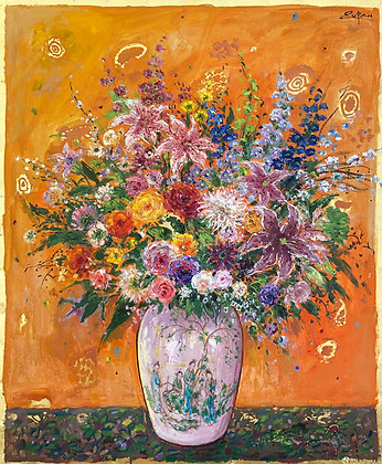 Bruno Zupan - Bouquet On Titian Orange Ground