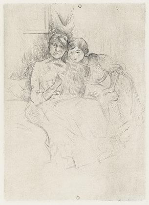 Berthe Morisot - Berthe Morisot dessinant, avec sa fille