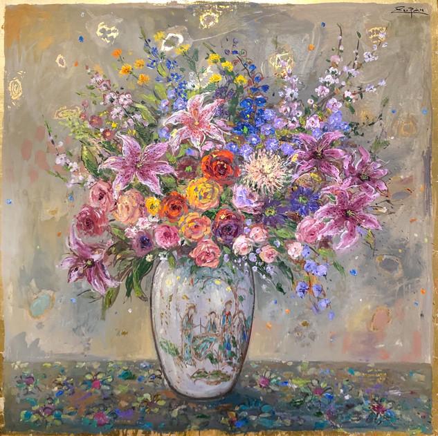 Bouquet on Grey Ground