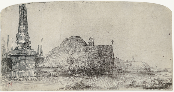 Rembrandt Harmensz Van Rijn - Cottage And Obelisk on the Spaarndammerdijk