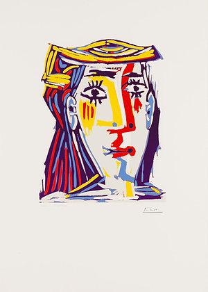 Pablo Picasso - Portrait de Jacqueline au chapeau de paille multicolore