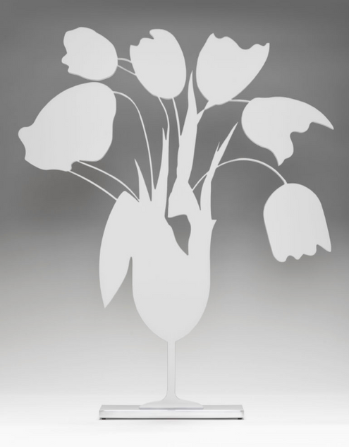 "Donald Sultan, ""White Tulips and Vase, April 4, 2014"""