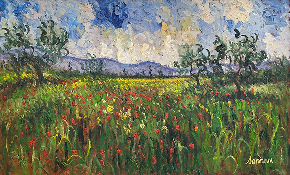 Samir Sammoun - Poppies Field And Young Olive Trees