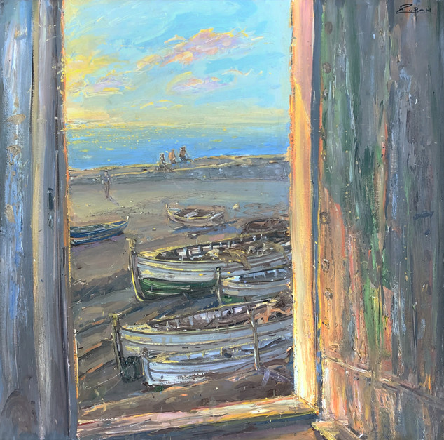 Door by the Sea at Sunset