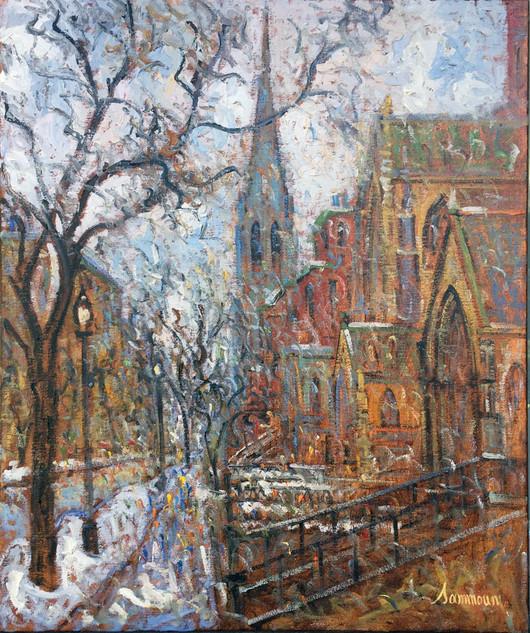 "Samir Sammoun ""Vue on Newbury Street, Snow"""