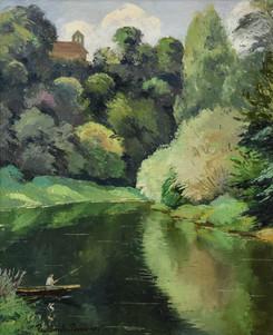"""Paulémile Pissarro, """"Pêcheur sur un Lac"""""""