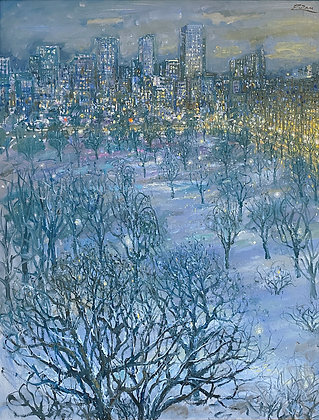 Bruno Zupan - Boston Public Gardens, Snowy Night