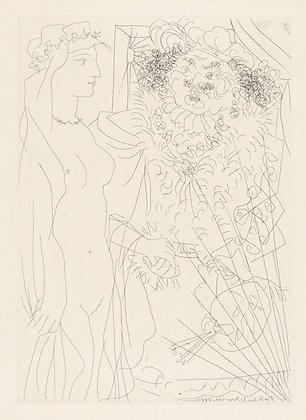 Pablo Picasso - REMBRANDT TENANT PAR LA MAIN UNE JEUNE FEMME AU VOILE
