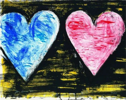 "Jim Dine, ""Two Hearts at Sunset"""