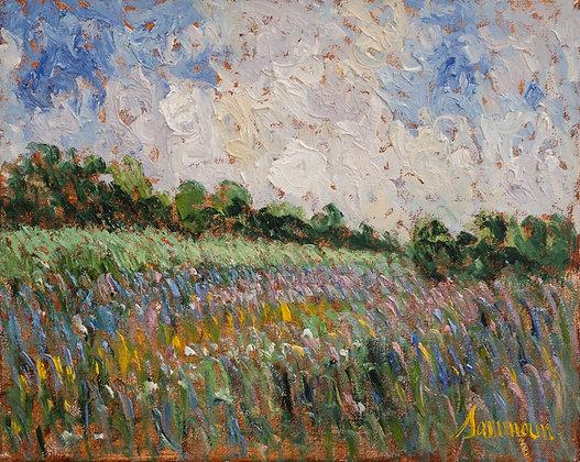 Samir Sammoun - Green Wheat Field And Wild Lavender