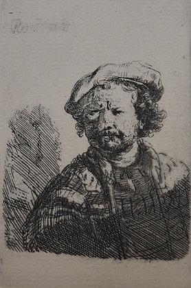 Rembrandt Harmensz Van Rijn - Self Portrait in a Flat Cap and Embroidered Dress