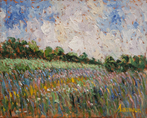 "Samir Sammoun, ""Green wheat field and wild lavender"""