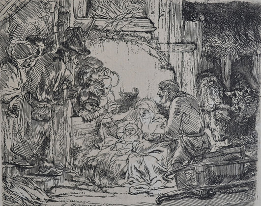Rembrandt Harmensz Van Rijn - Adoration of the Shepherds With Lamb