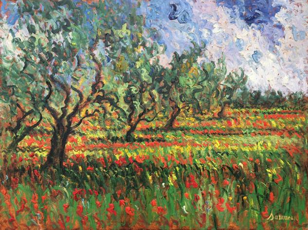 "Samir Sammoun ""Olive Grove and Poppies"""