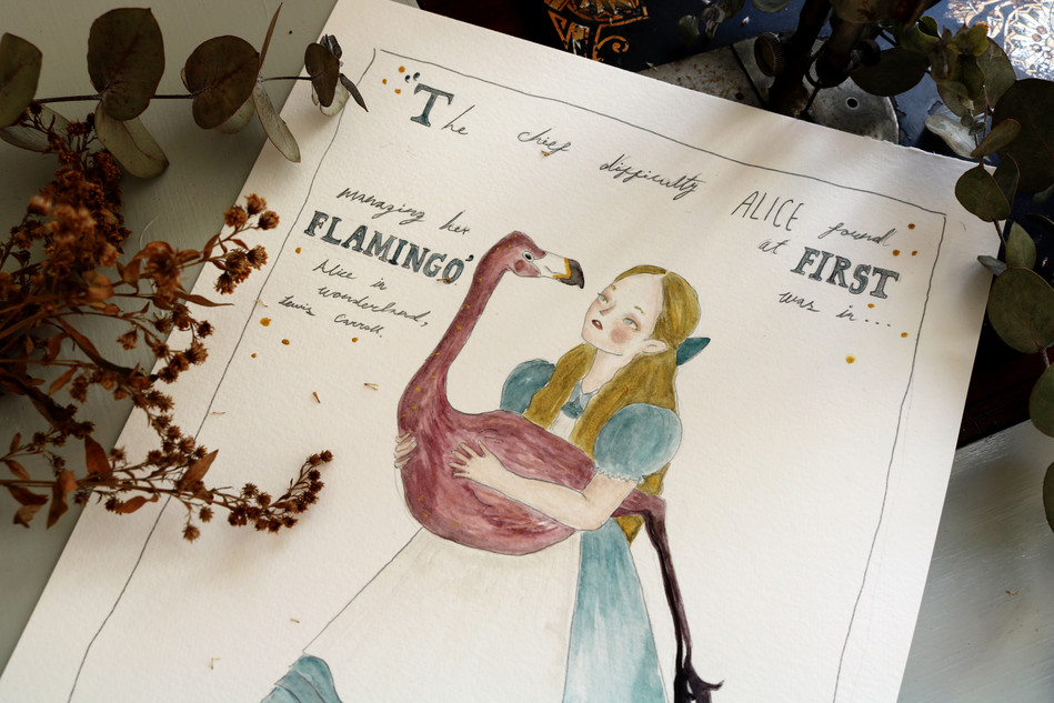 Alice in Wonderland- watercolours on pape