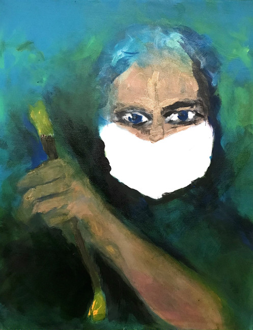 Painter in mask, 2020