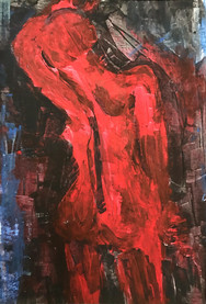 Back in red, 2016, acrylic on cardboard,