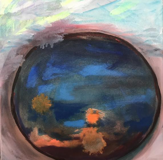 corona bubble 1, acrylic on canvas, 40x3
