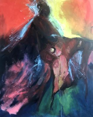 The ride, 2018, acrylic on canvas, 80x10