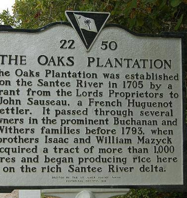 Historical Marker for The Oaks Plantation