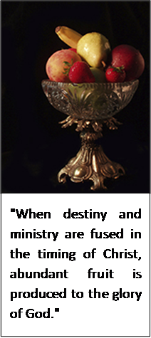 """When destiny and ministry are fused in the timing of Christ, abundant fruit is produced to the glory of God"""