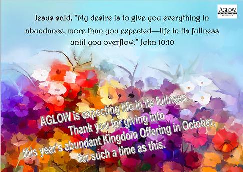 Kingdom Offering in October | aglowaus
