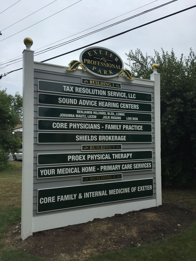 New PVC panels on an existing directory. We refurbished the old sandblasted signs with new paint and repairs.